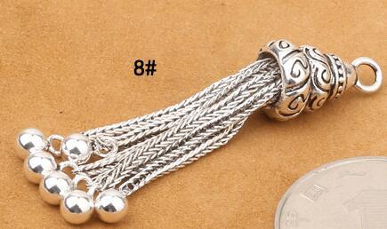 925 Серебряная кисточка DIY браслет кисточка чистое серебро ювелирные изделия кисточка - Цвет: Style 8