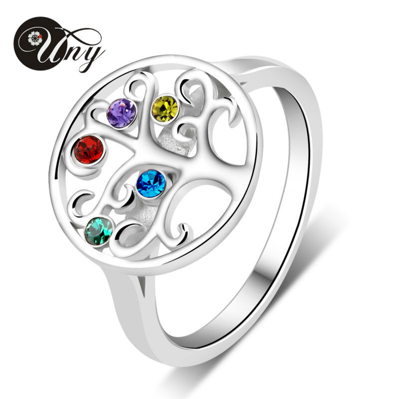UNY Ring Mom Personalized Birthstone Ring 925 Silver Custom Rings Engrave Name Family Tree Heirloom Love DIY Gift Promise Rings tree of life ring rose gold color birthstone ring sterling silver family tree ring custom mother s ring