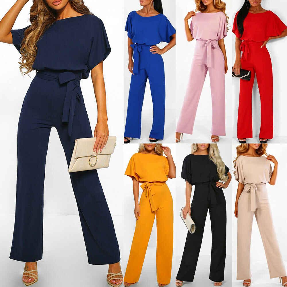 Женская модная Клубная одежда летний свободный обтягивающий комбинезон для вечеринок комбинезон брюки