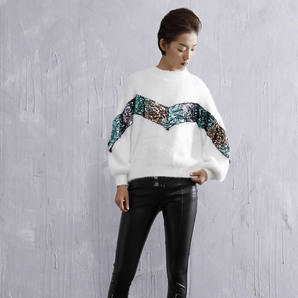 Couleur blanc Paillettes Pull Contraste Mode Femelle Haut camel 2018 Col Longues Dames Harajuku Top Noir Simple De Manches Automne Chandail Lanterne qWnz1Rv
