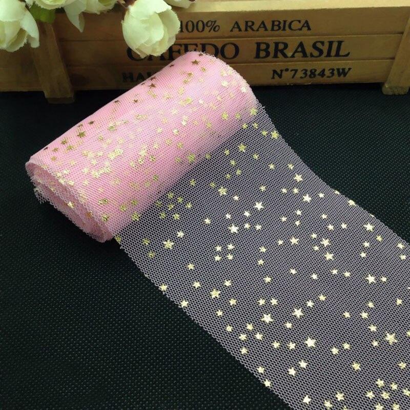 5m/roll 6cm Star Tulle Confetti Glitter Tulle Baking Cake Topper Tutu Pom Bow Soft Squine Tulle DIY Wedding Birthday Decoration