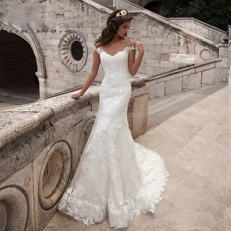 2019 Elegant Lace Appliques Cap Sleeve Mermaid Wedding Dress Illusion Back Vintage Bridal Gown vestido de