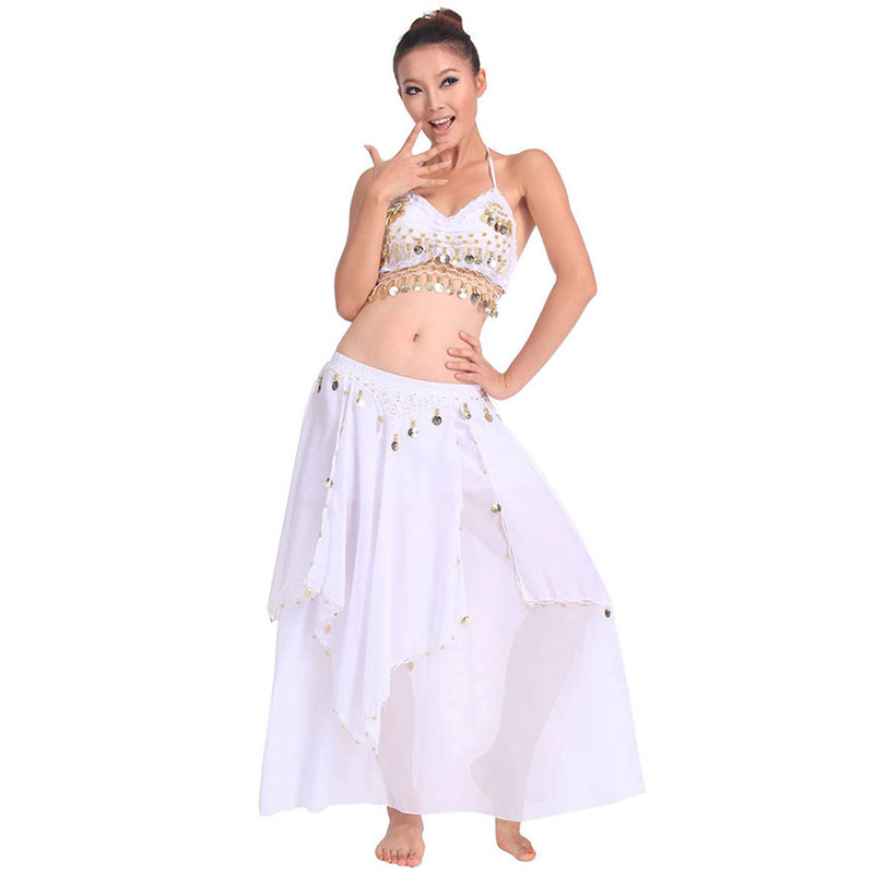 Belly Dancing Stage Performance Oriental Belly Dancing Clothes 2pieces Suit Top Shirt + Skirt Belly Dance Costume Set White
