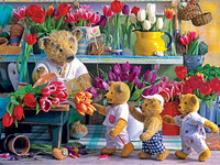 Full Square Diamond Mosaic 5d Bear Doll Flower Shop Diamond Embroidery Diamond Painting Cross Stitch Picture