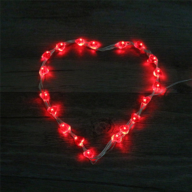 2m Love Heart Shape 20 LED Light Girl Room Home Decor Outdoor DIY Bar Strip Light Fairy Decorative Night Light For Festivals