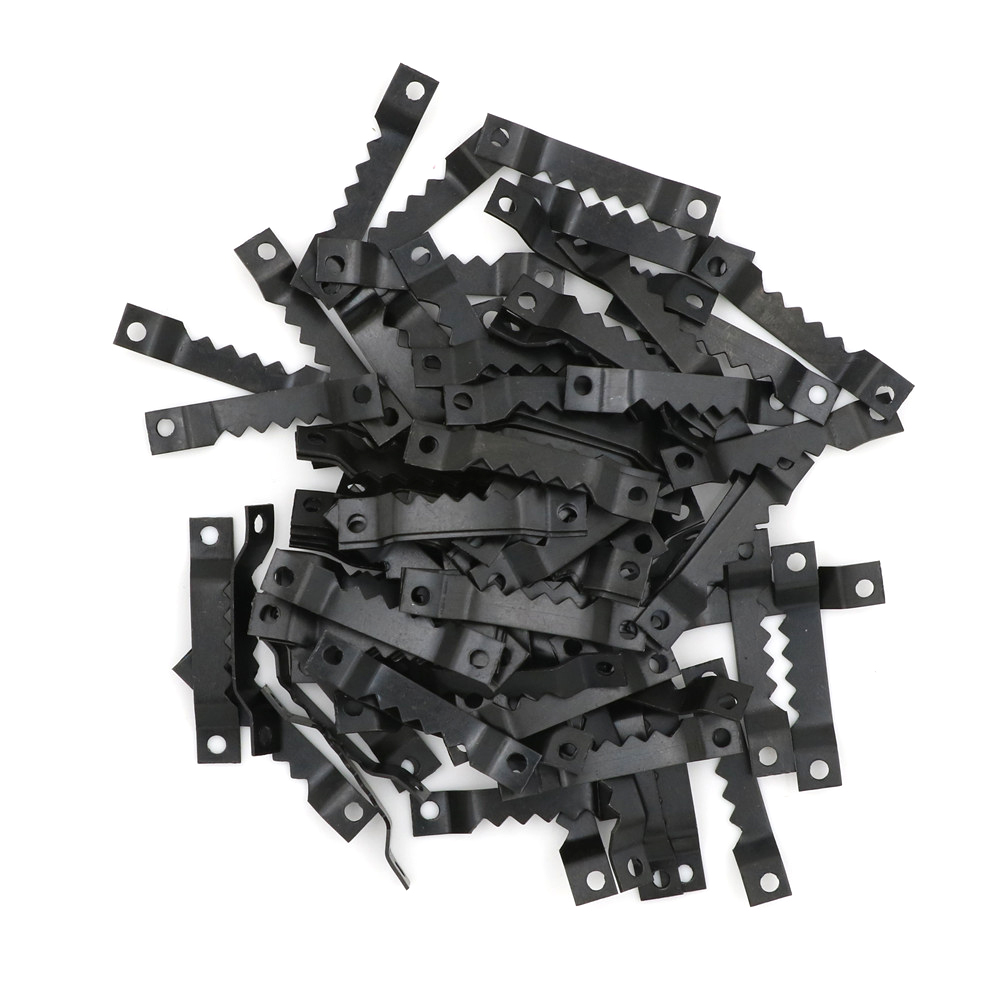 100pcs Black No Nail Picture Frame Hooks Saw Tooth Sawtooth Hangers 40*7MM