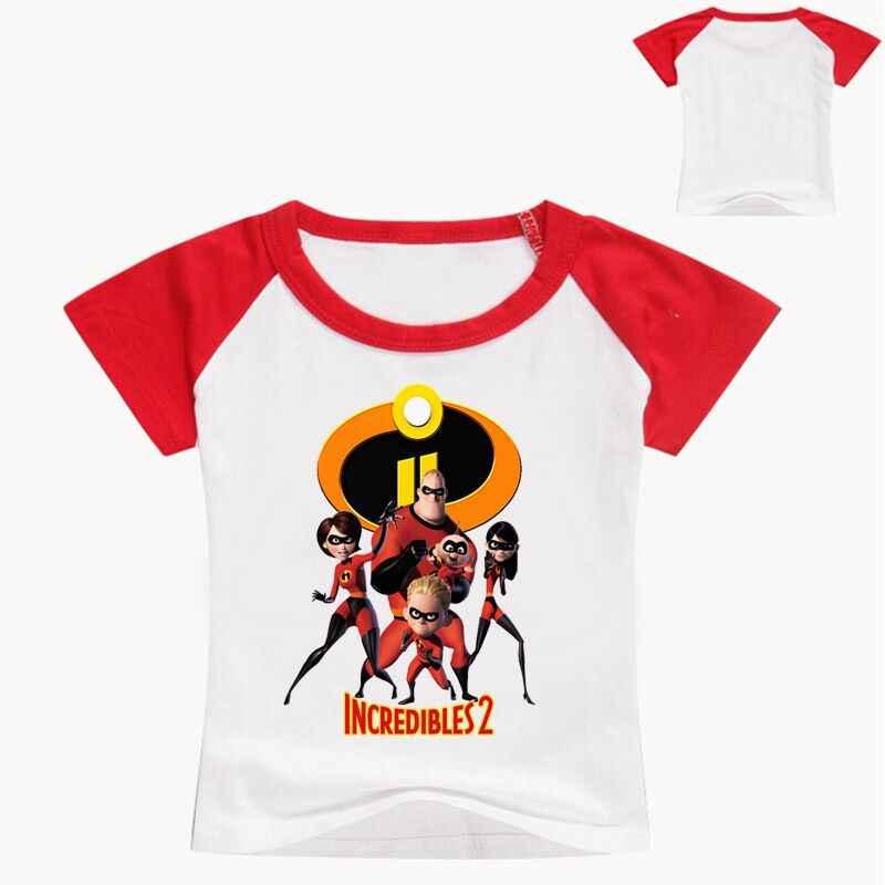 2018 ฤดูร้อนเสื้อยืดชาย Incredibles 2 เสื้อยืดสำหรับสาวงานเย็บปะผ้าเสื้อสำหรับสาวเด็กเครื่องแต่งกายสำหรับวัยรุ่นเสื้อยืดเสื้อ