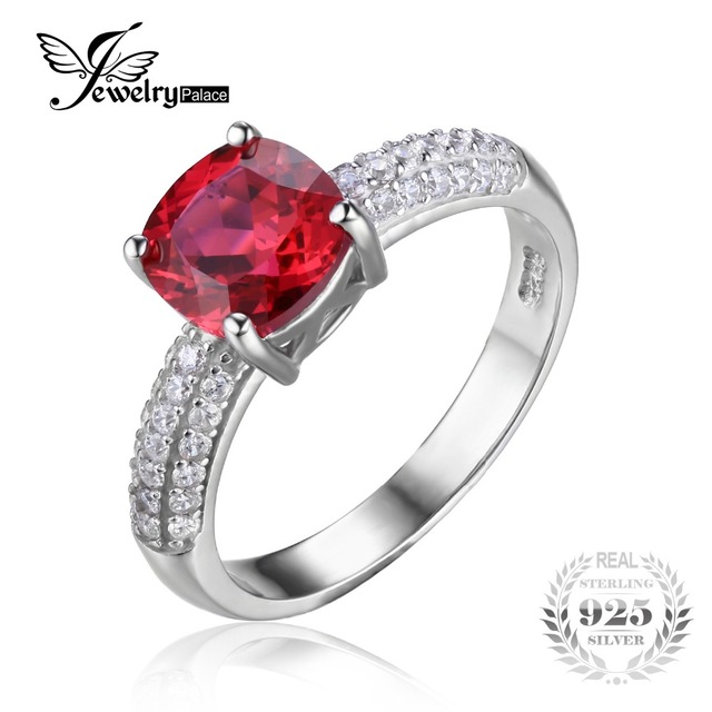 JewelryPalace Cushion 2.6ct Red Created Ruby Solitaire Engagement Ring For Women Genuine 925 Sterling Silver Jewelry Fine Ring
