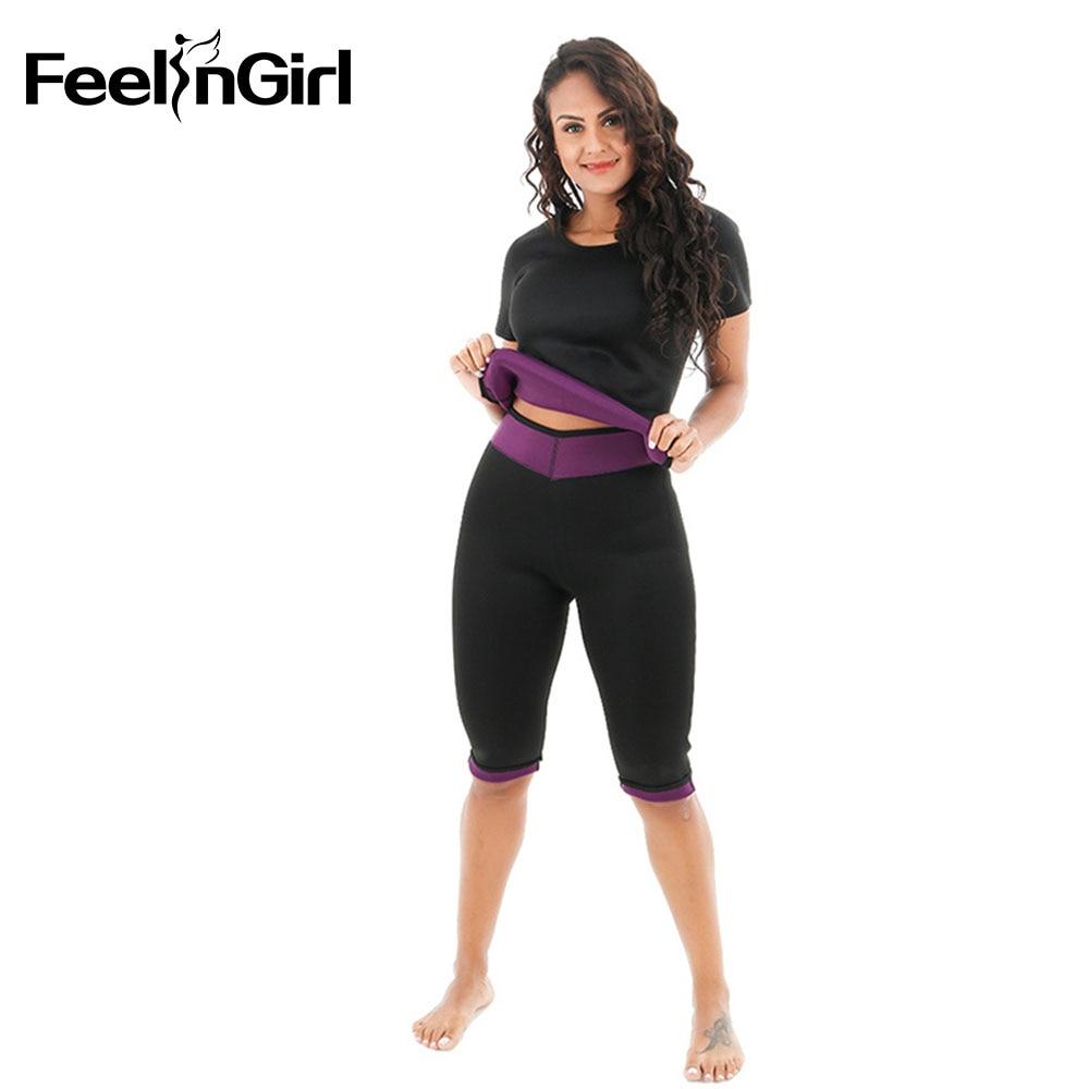 FeelinGirl (Pant + Vest) Thermo Sauna Suit Neoprene Waist Trainer Weight Loss Slimming Pant Cinta Modeladora Body Shaper D