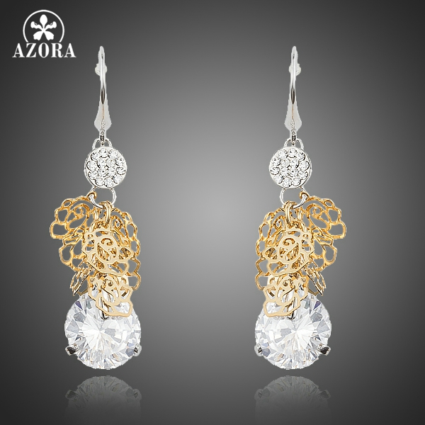 AZORA Fancy Gold Colour Filigree Dangling with Clear Cubic Zirconia Stone Drop Earrings for Women TE0217