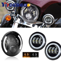 For Harley Motorcycle 7 LED Headlamp Headlight Auxiliary Passing Lights For Harley Road King Harley Touring