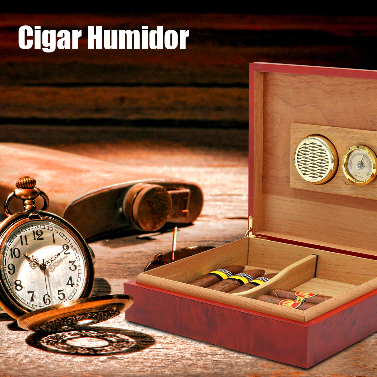 NEW Cigar Humidor Humidifier Cedar Wood Lined Cigar Case With Hygrometer Case Box with Moisture Meter Moisturizing DeviceNEW Cigar Humidor Humidifier Cedar Wood Lined Cigar Case With Hygrometer Case Box with Moisture Meter Moisturizing Device