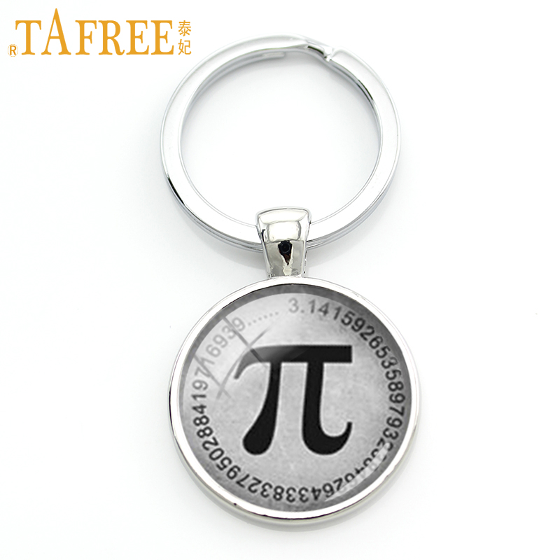 TAFREE Wholesale Retail Vintage Men Key Chain Ring Jewelry Classic Mathematical Pion Pi Symbol Keychain Math Teacher Gifts KC134