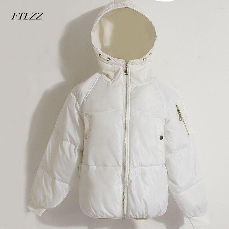 Ftlzz Winter Fashion Women Jackets Short Design Cute Cotton Padded Pink Coats Causual Warm Hoodies Loose Padded Parkas Feminino