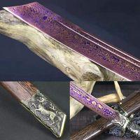 سكين الدمشقي المصنوع يدويًا المصنوع من الفولاذ الأزرق المتين سكين كيلين دا داو سابر