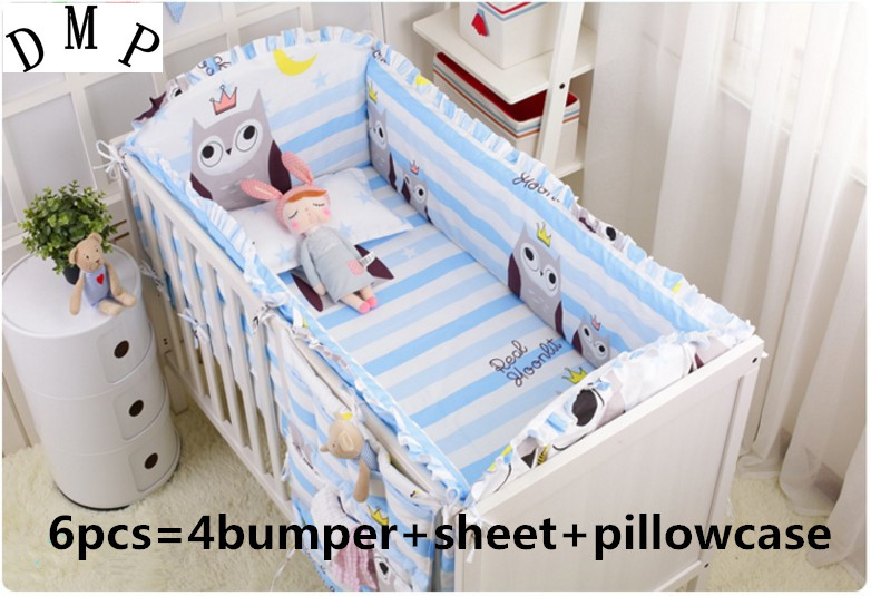 Promotion! 6PCS Owl baby crib bedding sets,Crib Set,bed linen 100% cotton crib bedding set,(4bumper+sheet+pillow cover)