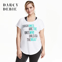 Darcydebie Plus Size New Fashion Women Clothing Casual Letter Print Tops Loose Short Sleeve T Shirt