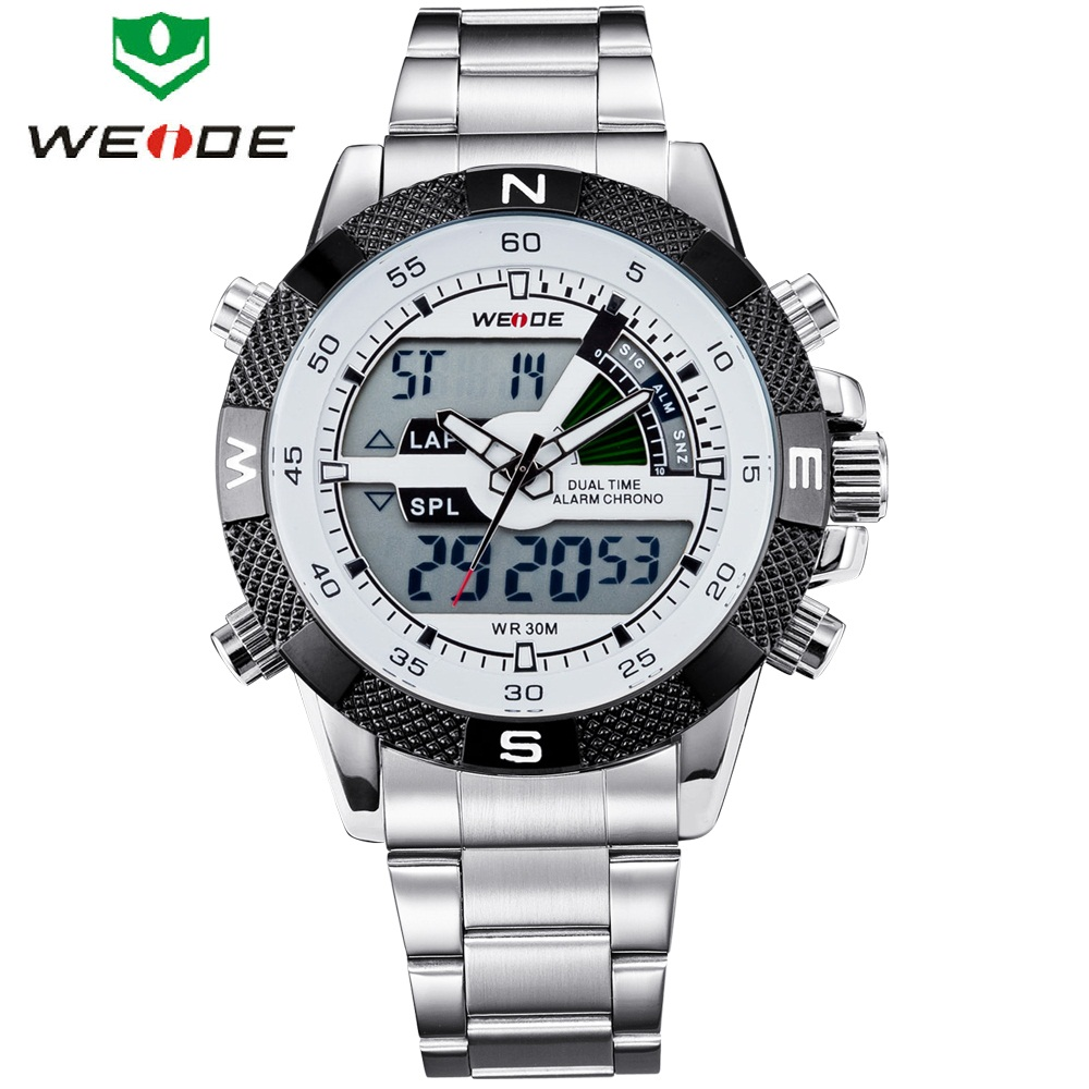 WEIDE Brand Men Sports Watches Men's Quartz Multifunction Military Watch Analog Digital Waterproof Stainless Steel Wristwatches weide new watch analog digital display outdoor men sport quartz movement military watch back light stainless steel band 6 colors