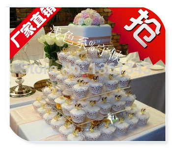 5 Tier Square birthday party decoration of tray Cupcake Stand Party Wedding Cake Holder decoration