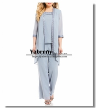 blue Chiffon Three p ieces Mother of the bride pants suit with Elastic waist Beach wedding
