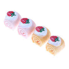 5pcs DIY Kitchen Toy Strawberry Cake Adorable Miniature Cakes Resin Cabochons For Phone Decoration Crafts Making