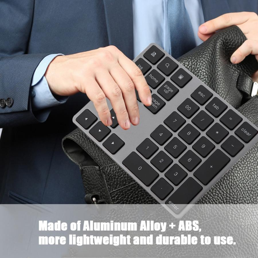 Black 34 Keys Mini Numpad Wireless Bluetooth Numeric Keypad For  PC Numeric Keypad(China)