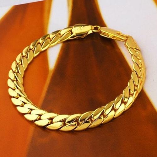 Men S Solid Gold Gf Snake Snakeskin Bone Seamless Bracelet Brave Warrior Fashion Jewelry