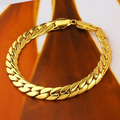 Men's  Solid gold GF Snake snakeskin bone seamless Bracelet brave warrior  fashion jewelry