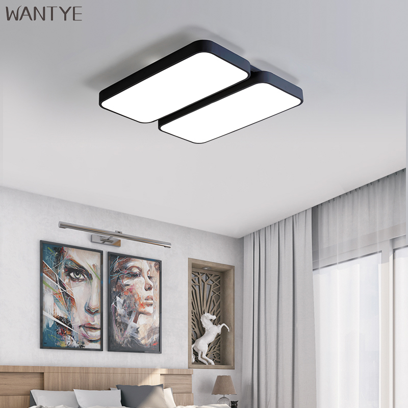 Modern Indoor Lighting Ceiling Light Flush Mount LED Rectangular Ceiling Lamp Dimmable for Bedroom Living room Acrylic Fixtures