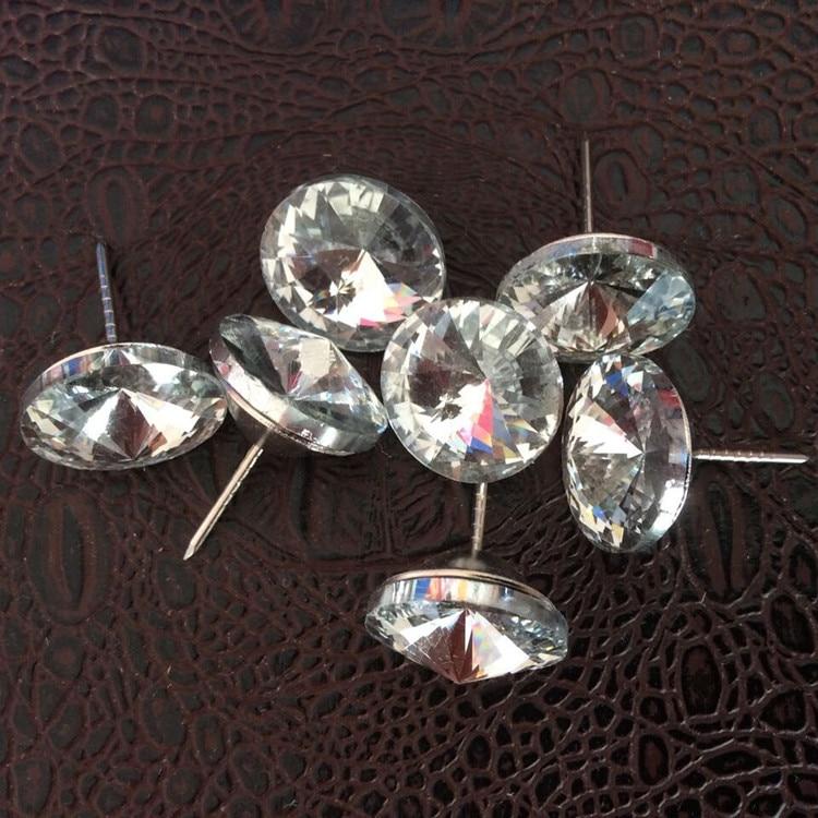 200 Stks/partij Dia.18mm Crystal Bekleding Sofa Hoofdeinde Knoppen Nagels Kopspijkers Studs Muur Decor Koop Nu