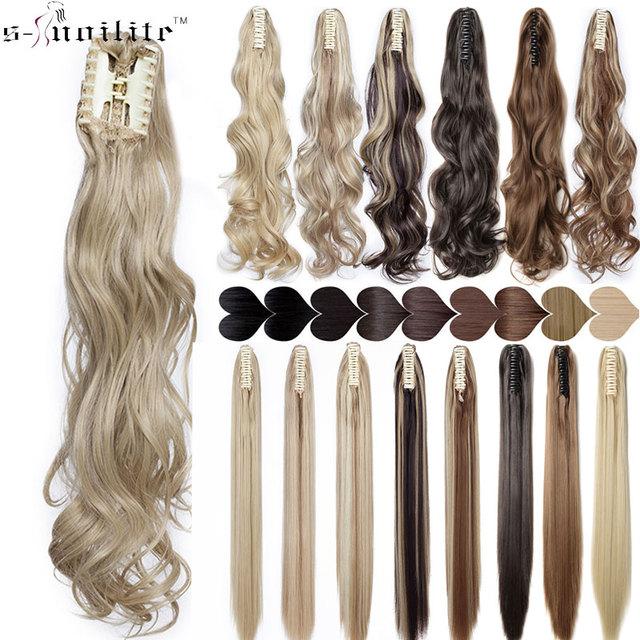 SNOILITE Synthetic Claw on Ponytail hair extension fake ponytail hairpiece  for women black brown blonde tail hair extension hair bd0259afe