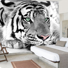 3D Wallpaper Mural Black And White Tiger Animals