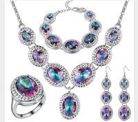 beads Fine Unusual bridal Woman Jeweller queen seven color Zirconia jewelry set necklace Earrings ring bracelet four piece set