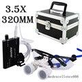 Dentista Médico Cirúrgica Lupas Binoculares 3.5X320mm Vidro Óptico Lupa + LED Head Light Lamp + Protetor Carry Case