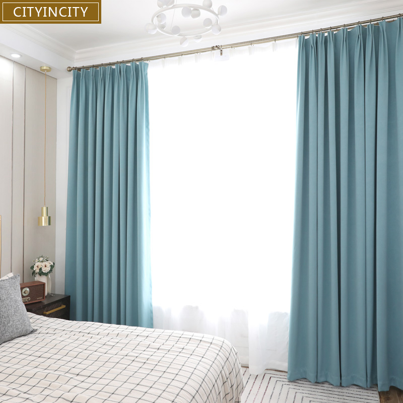 CITYINCITY Three Layers Solid Blackout Curtain For Bedroom Home Decor Darpes Faux Linen Curtains For Living Room Customized