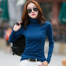 Big SALE!! 2018 New Arrival Women's Clothing T-shirt in Autumn/Winter Multicolor Turtleneck Long Sleeve Tops Warm Basic Shirt