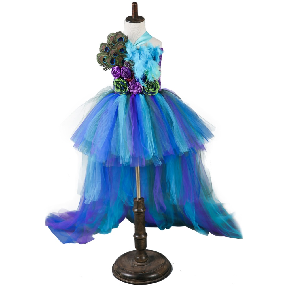 Princess Peacock Feather Long Tail Party Dress Girls Wedding Elegant Kids Birthday Prom Ceremonies Tutu Dress Ball Gown VestidosPrincess Peacock Feather Long Tail Party Dress Girls Wedding Elegant Kids Birthday Prom Ceremonies Tutu Dress Ball Gown Vestidos