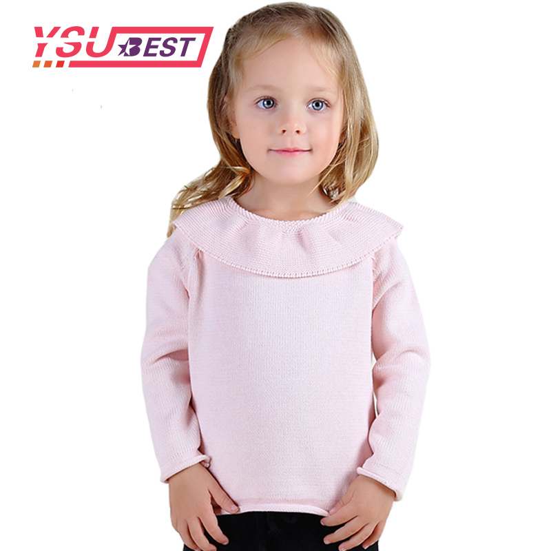 Girl Cardigan Baby Primer Shirt Knit Sweater 2018 Children Sweater Toddlers Girls Lotus Leaf Collar Sweater Baby Girl Clothing twist back crop chunky knit sweater