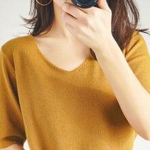 春と夏新女性の V ネックニット半袖カジュアルルーズプルオーバーアイスシルクリネン大サイズ半袖 19