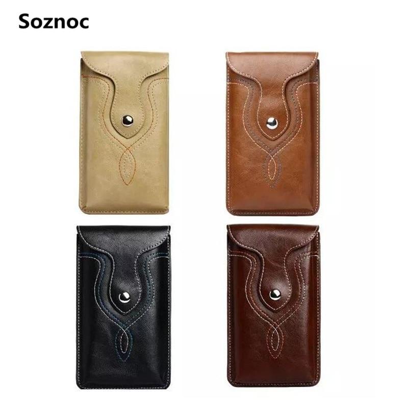 Soznoc Men Universal Sport Outdoor Holster Clip Buckle Belt Flip Leather bag For Samsung A7100 Note <font><b>7</b></font> 5 4 For Huawei mate <font><b>7</b></font> <font><b>8</b></font>