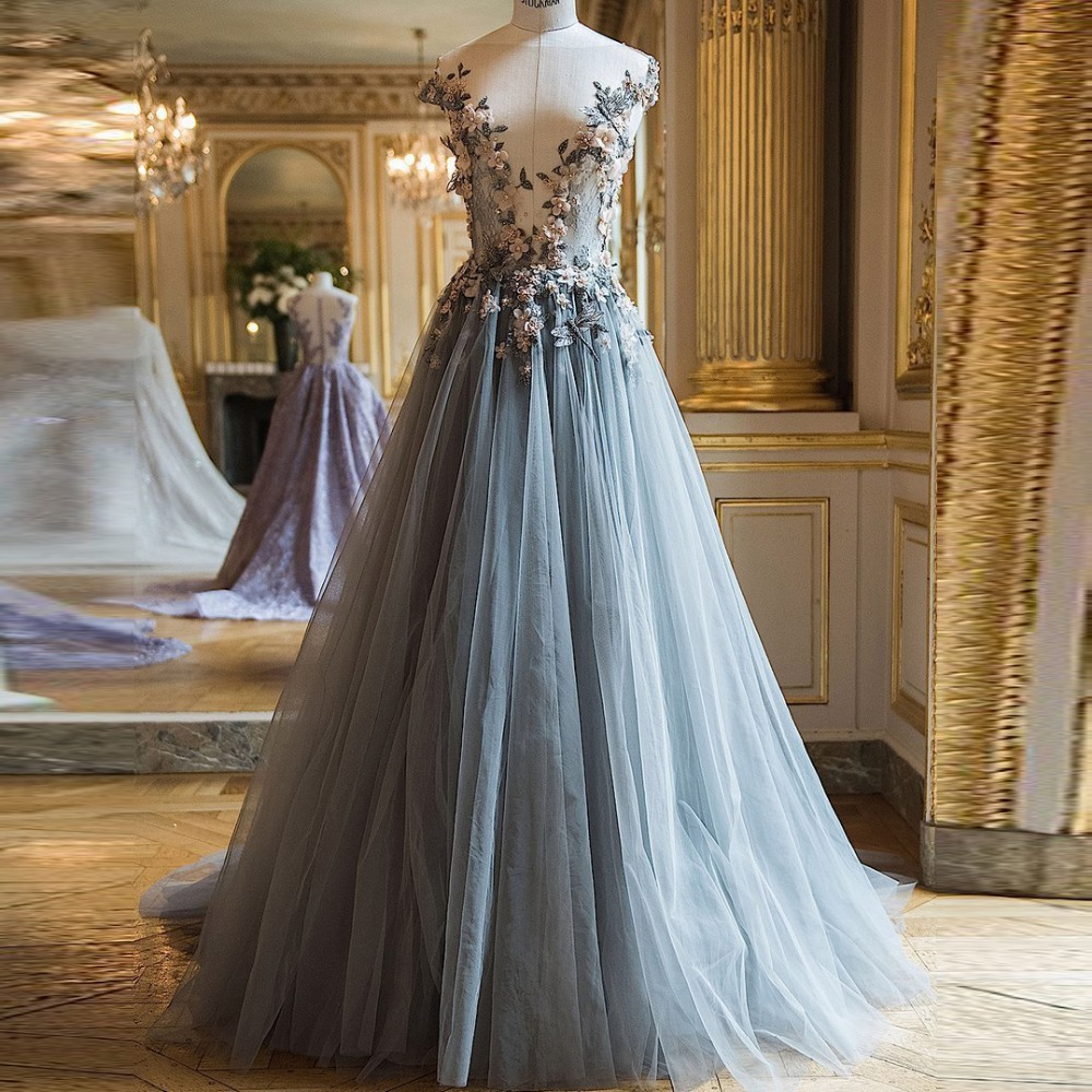 Fairy 3D Floral Tulle   Prom     Dresses   Long Dusty Blue Evening   Dress   Robe de soiree Sheer Neck Abendkleider 2018 Formal   Dress