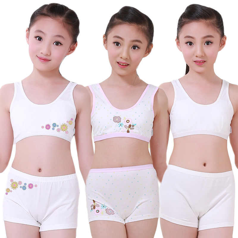 Puberty Young Girls Cosy Undies Children Clothing Teenagers Cotton Underwear Set Training Bras Camisole Vest Top + Panties Boxer
