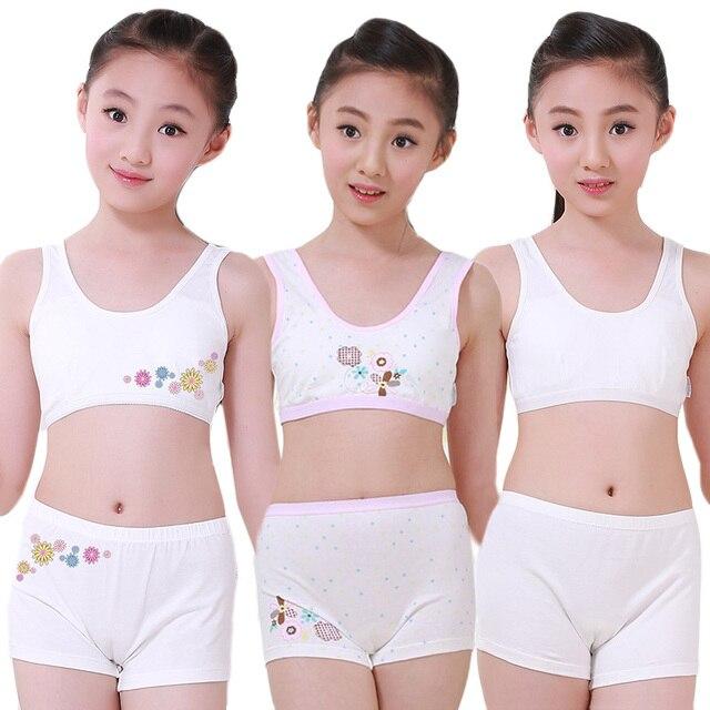 5197bcb21832f البلوغ يونغ الفتيات الأطفال الملابس الداخلية مريحة المراهقين القطن داخلية  مجموعة التدريب حمالات بروتيل الصدرية الأعلى