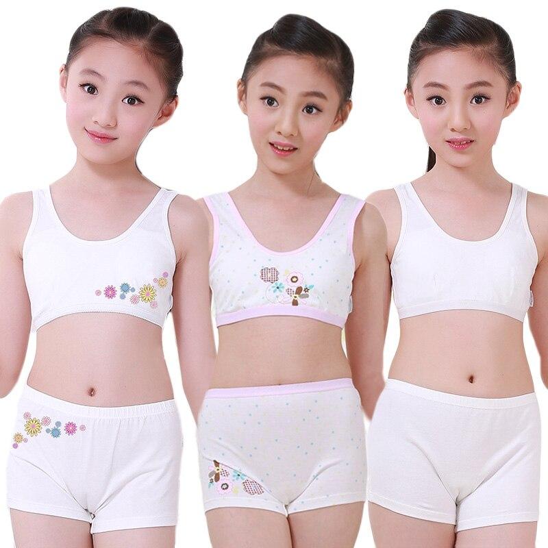 Puberty Young Girls Cosy Undies Children Clothing Teenagers Cotton Underwear Set Training Bras Camisole Vest Top + Panties Boxer