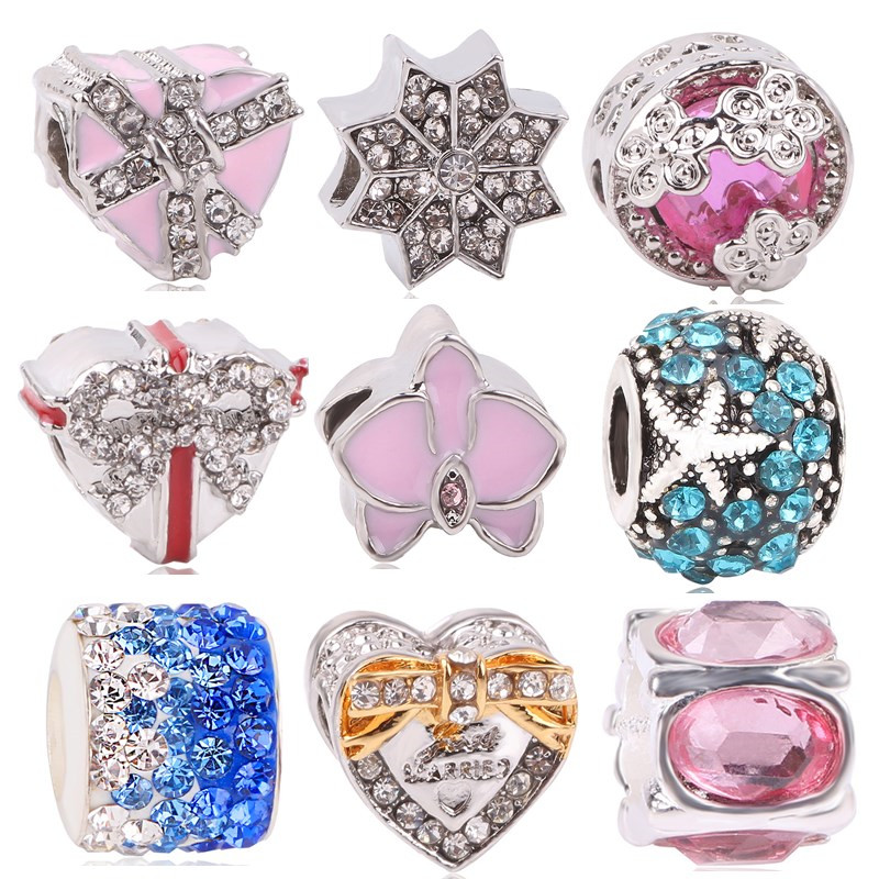 AIFEILI Women Silver Color Love Starfish Flower Star Pendant DIY Bead Charms For Pandora Bracelets Bangles Necklace Jewelry in Beads from Jewelry Accessories