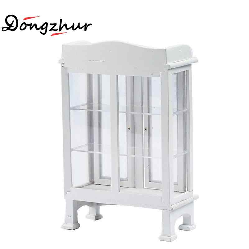 1:12 Dollhouse Accessories Miniature Furniture Model White Living Room Wood Glass Display Cabinet Cupboard Dollhouse Decoration