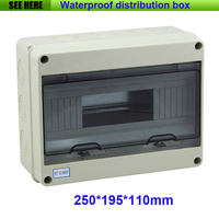 Free Shipping IP66 Plastic Electric Small Size Waterproof Distribution Box For 12Way Circuit Breaker 250 195