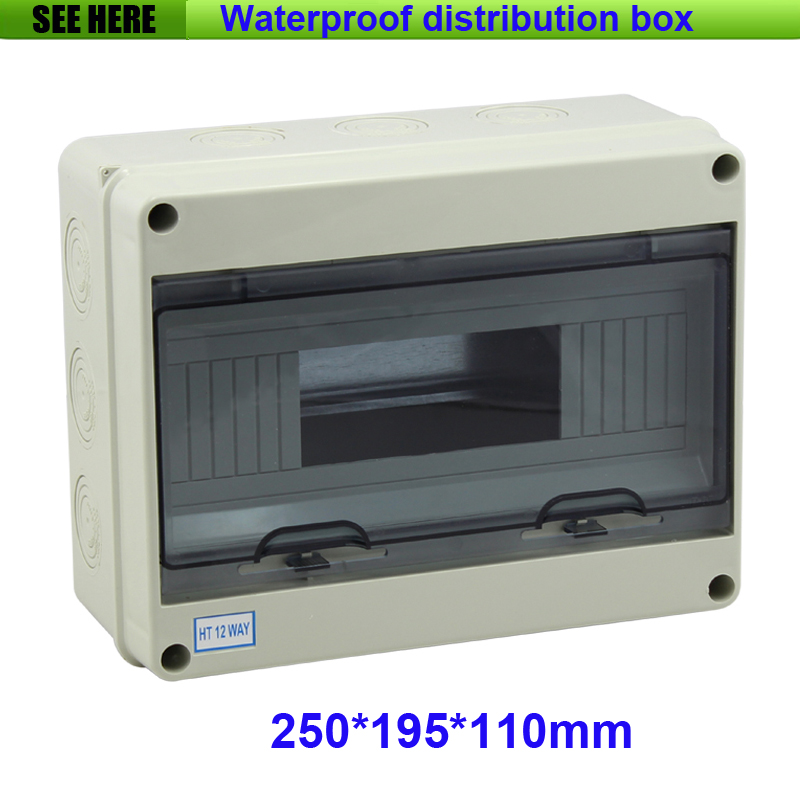 Free Shipping IP65 Plastic Electric Small Size Waterproof Distribution Box For 12Way Circuit Breaker 250*195*110mm 1 piece free shipping anodizing aluminium amplifiers black wall mounted distribution case 80x234x250mm