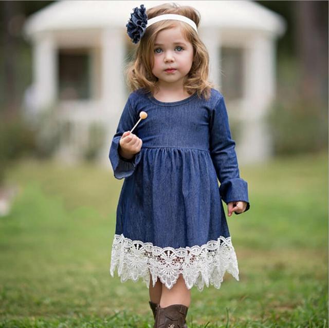 dc1cf667cb2 Hot Sale Dress Girls Soft Cotton Denim Dresses Baby Long-sleeve lace Denim  Dresses Kids Spring Autumn Dresses