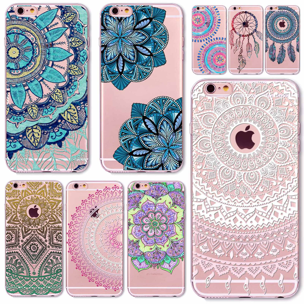 Case For iPhone 6 6S Plus 5 5S SE 6Plus Transparent Cases Floral Paisley Flower Mandala Henna Silicone Soft Phone Cover